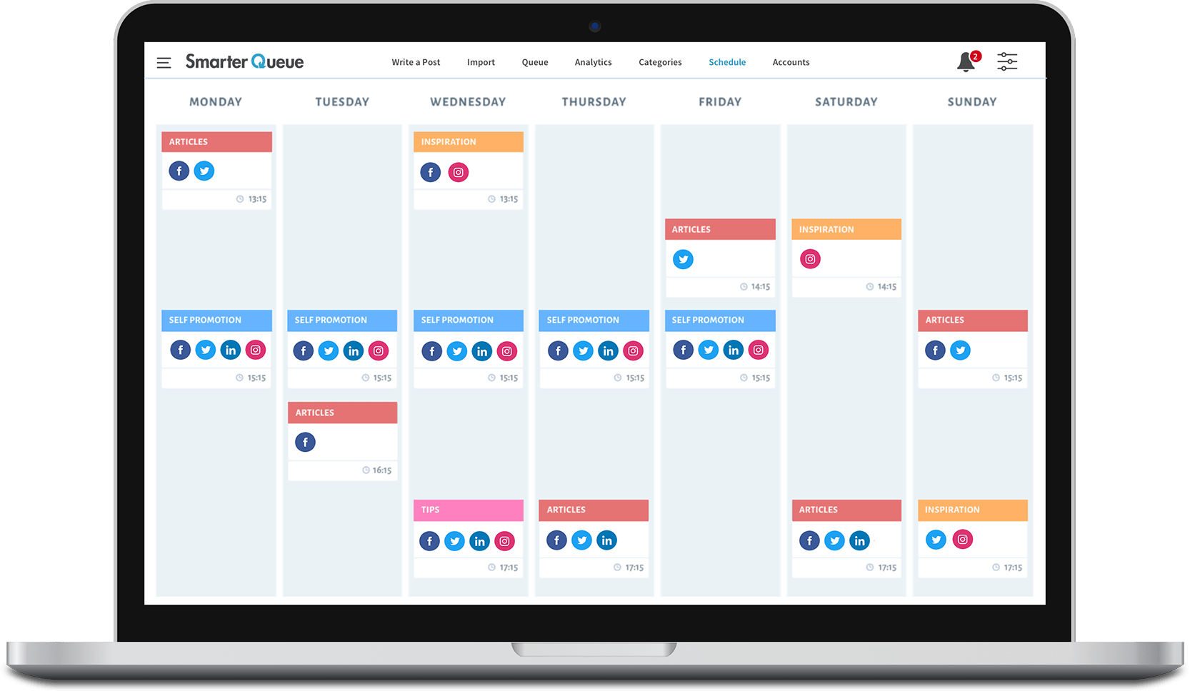 Image of SmarterQueue's visual calendar for scheduling